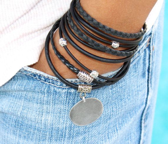 Tibetan Boho LEATHER Wrap Bracelet - Pick COLOR / SIZE - Natural Leather Triple Wrap Bracelet - Charm Bracelet w/ Extension Chain - 722
