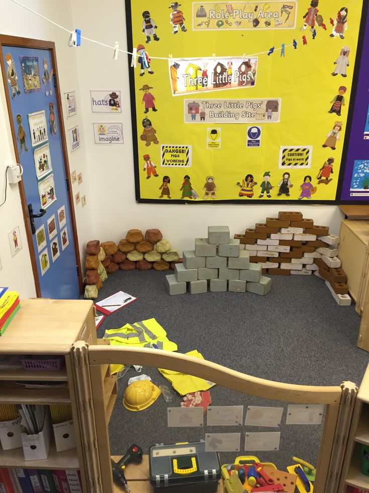 The three little pigs building site role play area.