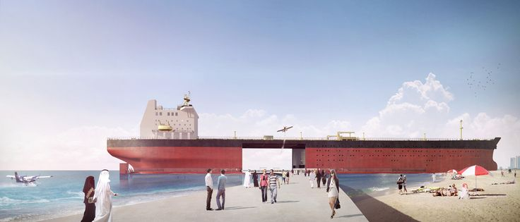 A designer's idea to convert old oil tankers into the building purpose such as residental, retail, business etc.  Read more at www.fastcoexist.com/3046359/these-beautiful-floating-villages-are-made-from-old-oil-tankers