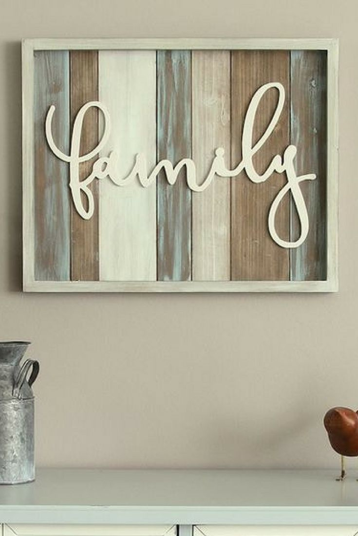 "Love the colors and simplicity. Stratton Home Decor ""Family"" Farmhouse Wall Decor. #ad"
