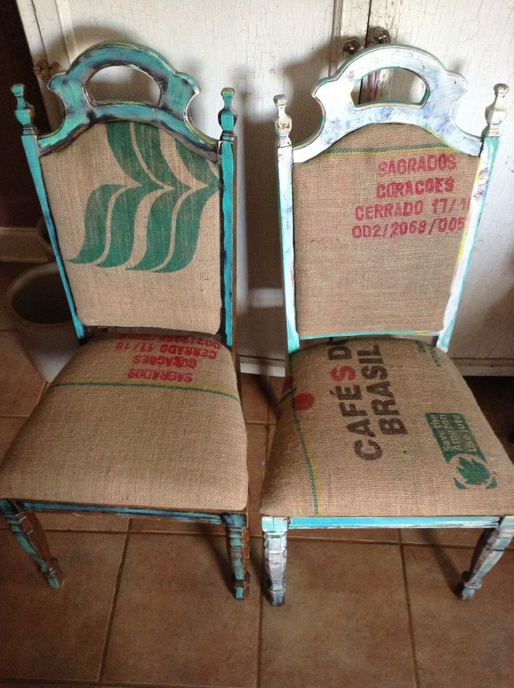 Junk GYpSy Furniture | My Grandma's 1970's dining room chairs with paint & coffee bean burlap ...