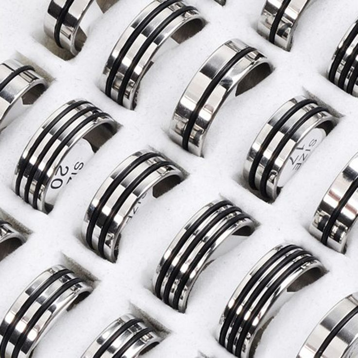 New Hot 12Pcs Mixed Stainless Steel Black Rubber Rings Wholesale Bulk Men Women Wedding Ring Jewelry Gifts 17-22mm