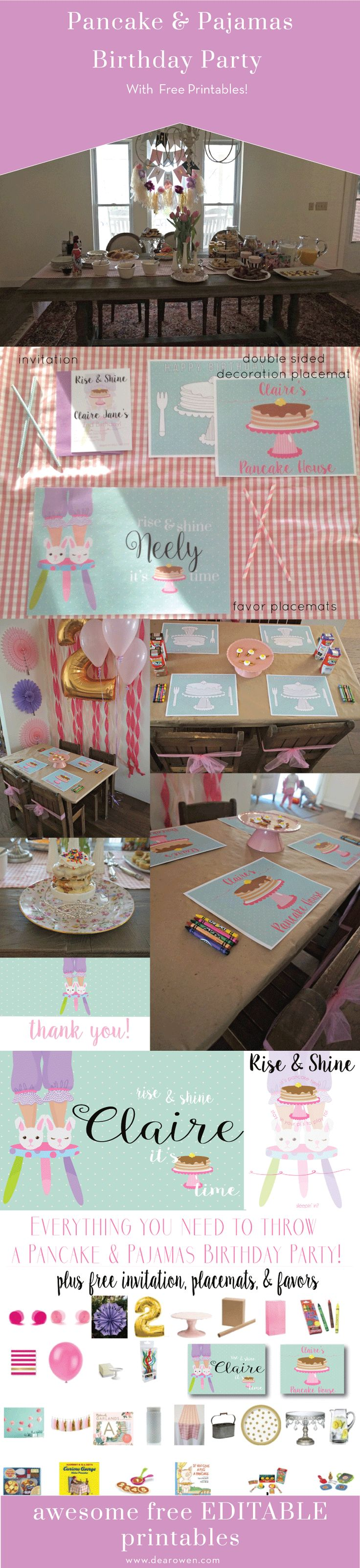 Pancakes & Pajamas Birthday Party with Free Editable Printables and everything you need to throw your own party! Girl birthday party ideas, pancakes, pajamas, free printables, easy birthday party, kids party