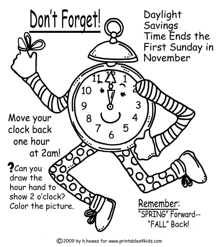 Fall Time Change Reminder Coloring Page : Printables for Kids – free word search puzzles, coloring pages, and other activities