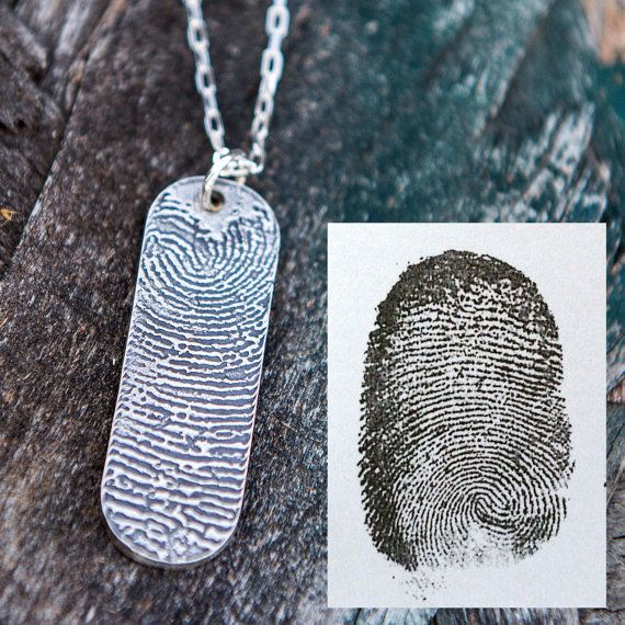 Fingerprint Pendant on a Sterling Silver Necklace using an ink print - Great Memorial Necklace - Get 10% off your purchase with Coupon Code PINIT