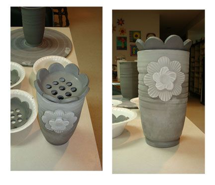 Vase with flower frog lid - Unglazed - ideal when you only have a few flowers to put into a vase