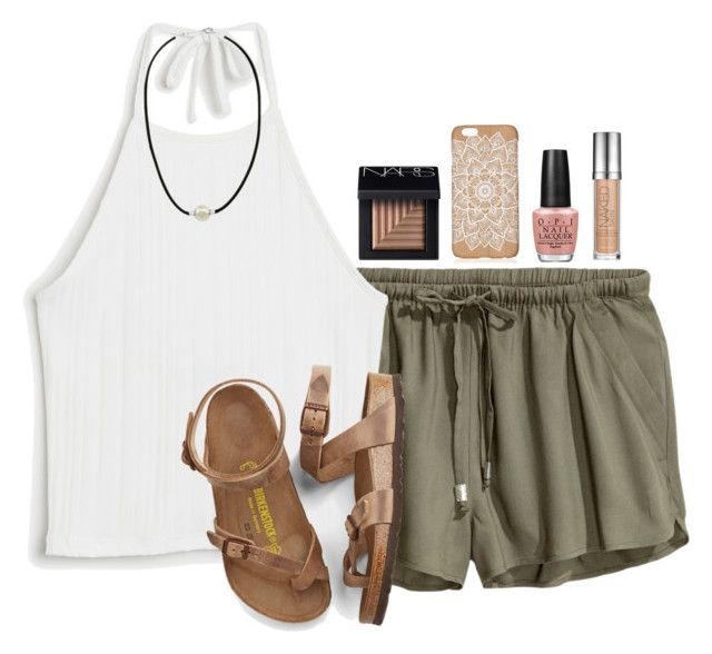 """""""Today was my dads birthday! He's 46"""" by madelyn-abigail ❤ liked on Polyvore featuring Monki, Birkenstock, Majorica, NARS Cosmetics, OPI and Urban Decay"""