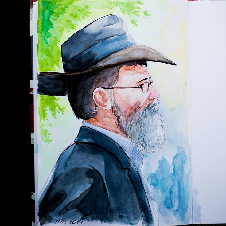 Jewish religious man by AlexGreenArt Watercolor Sketchbook