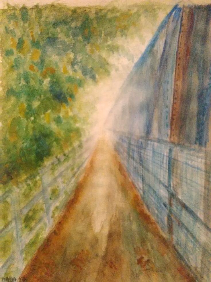 železný most v Hlohovci akvarel