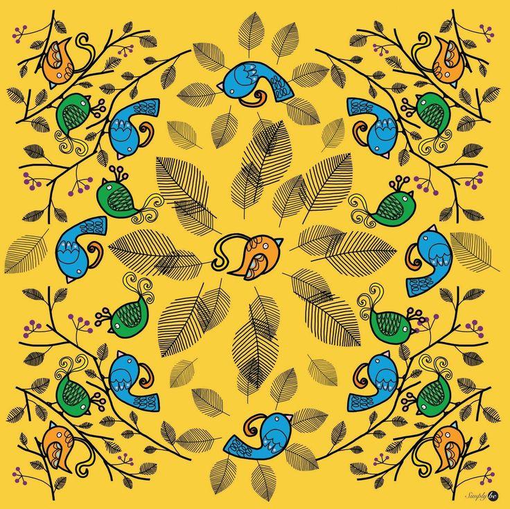 Scarf by Simply be, size 100x100 cm., Silk Satin fabric, Bird - yellow