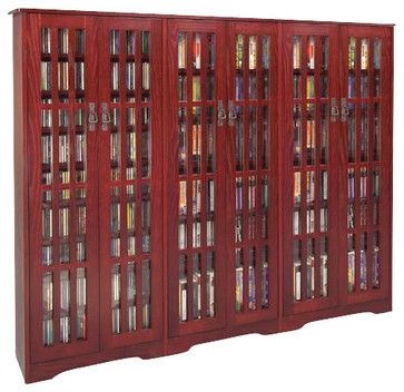 Leslie Dame CD/DVD Wall Rack Media Storage Unit in Dark Cherry transitional-media-cabinets