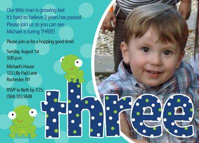 Boys 3rd Birthday Party Invitation Frog | Party Ideas | Pinterest ...