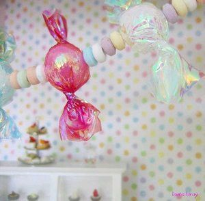 "Faux Candy Garland- you can make giant candy balls by using large styrofoam balls too.       Scissors      1"" Styrofoam balls or 1"" wood beads      Tweezers      Heat gun      Art Institute Glitter's Fantasy Film in a variety of colors:"