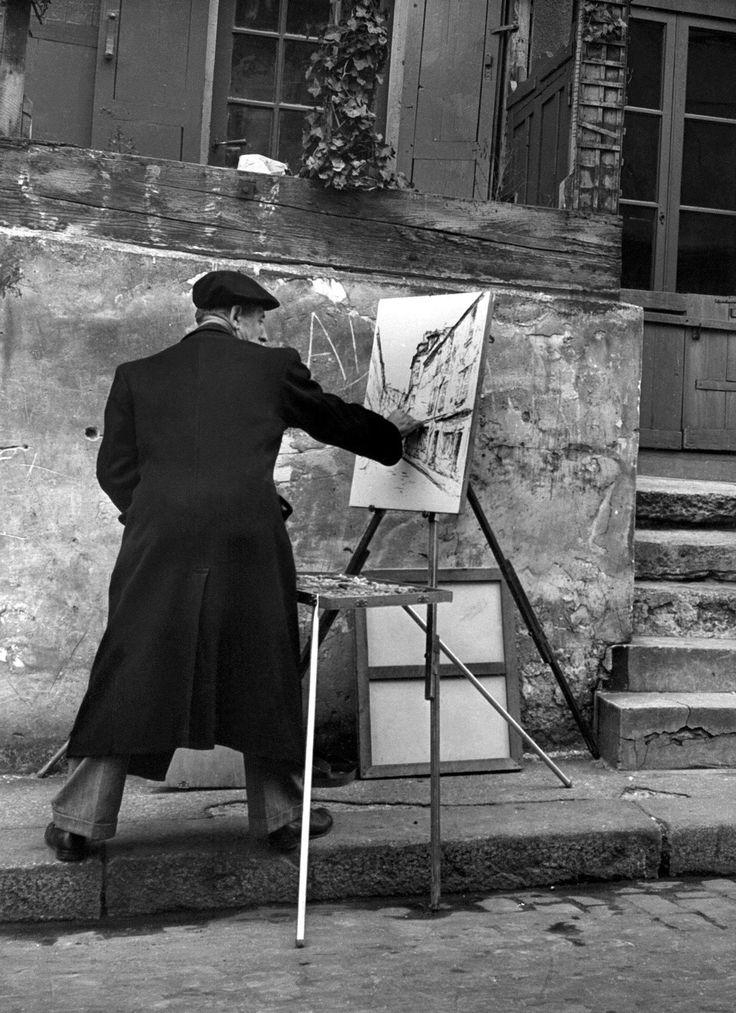 Peintre 224 Montmartre Ann 233 Es 1950 Montmartre Black