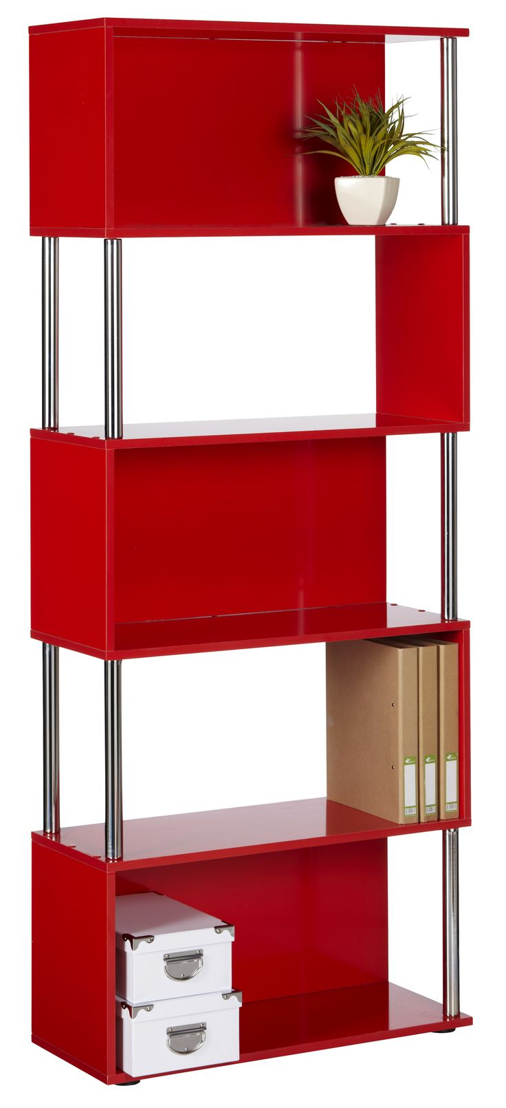 Hummingbird Hayes Chrome and Gloss Bookcase Red ... not quite sure it will fit where I want it to, but if it did ... that would tie in my glass block window and kitchen into my study ... very nice!