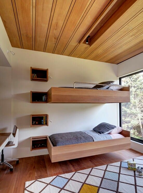 Wood beds and ceiling