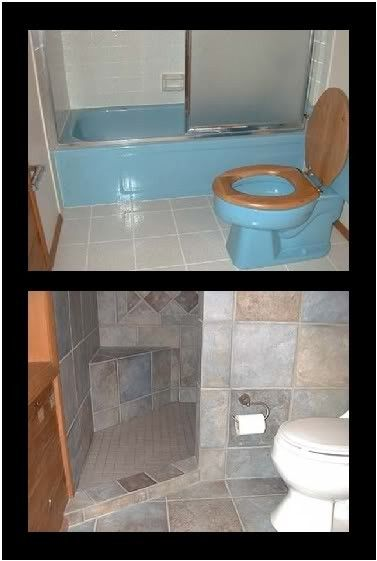 DIY if you can...Door-less walk in shower.The best pin ever for the small bath! Hard to find updates that are stylish for small bath, so here's a good one!