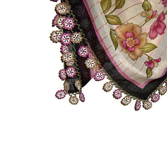 Traditional Turkish Yemeni Cotton Scarf With Lace by naryaboutique, $32.00