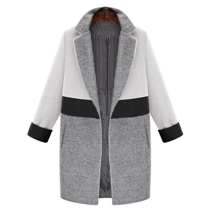 Pretty Color-Block Dual Pocket Long Sleeve Car Length Winter Coat 2 Colors S-XL