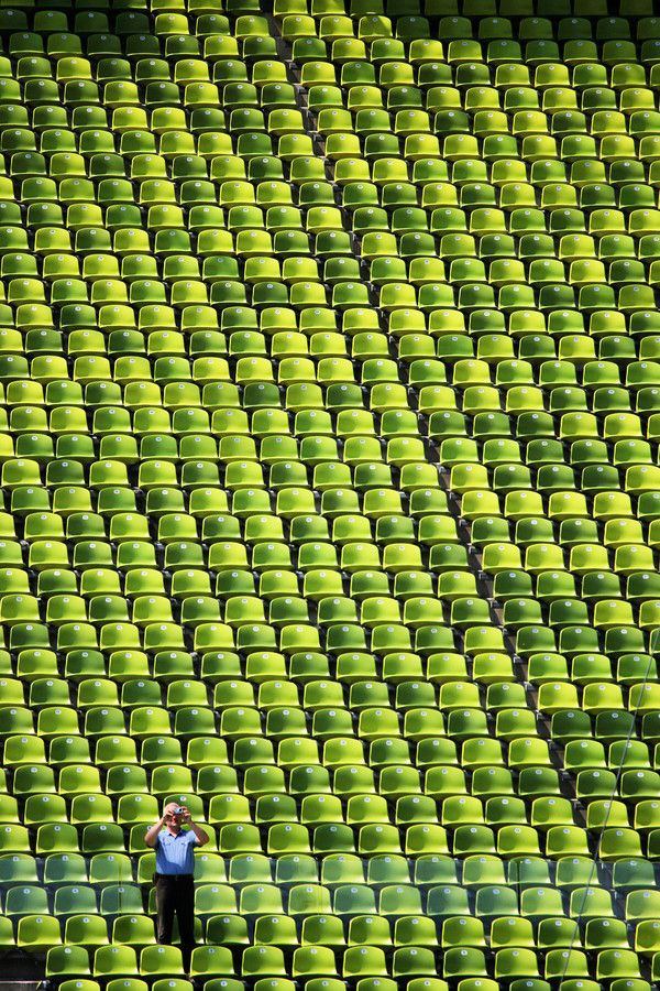 Green seats at the Olympic Stadium, Munich, Germany