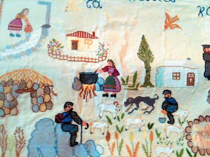 Cretan textile Looks like Aspasia Bikaki's Naif embroidery.
