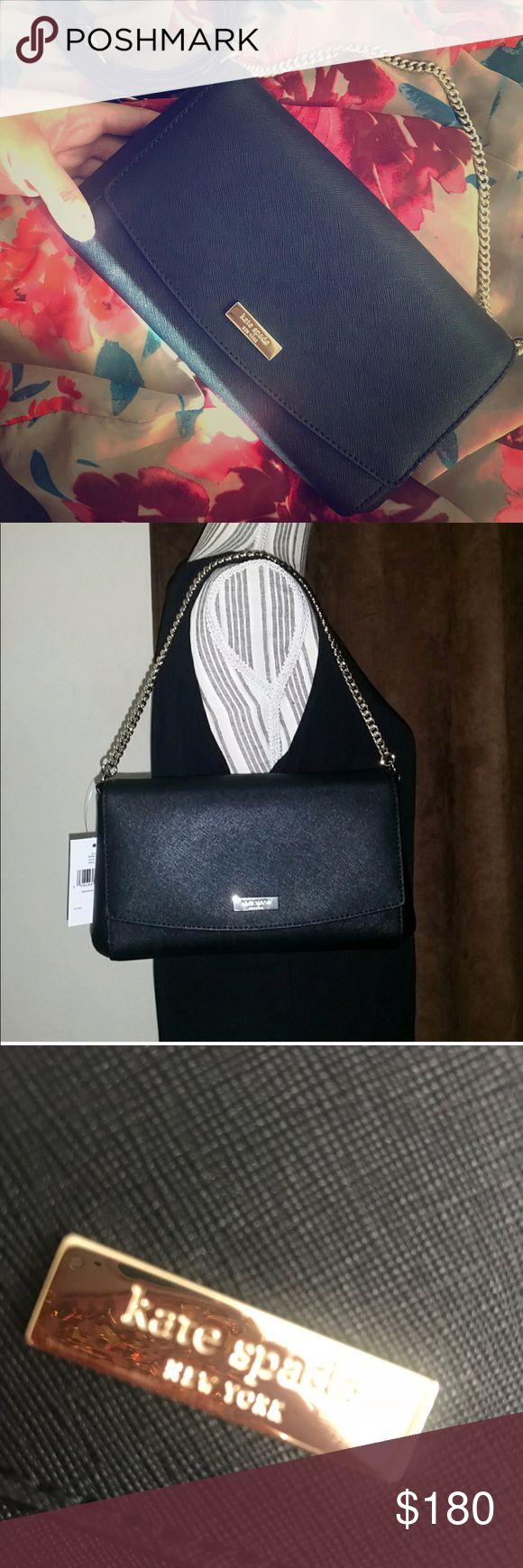 KATE SPADE Black Crossbody Purse 💋♠️ NEW! KATE SPADE Authentic Black Crossbody Purse/ Purchased From Fellow Posher w/ Tags No Tags for this/ Perfect Condition/ Clean/ Never Used for Trip/Dimension: 10in x 6in x 2in/Smoke Free kate spade Bags Crossbody Bags