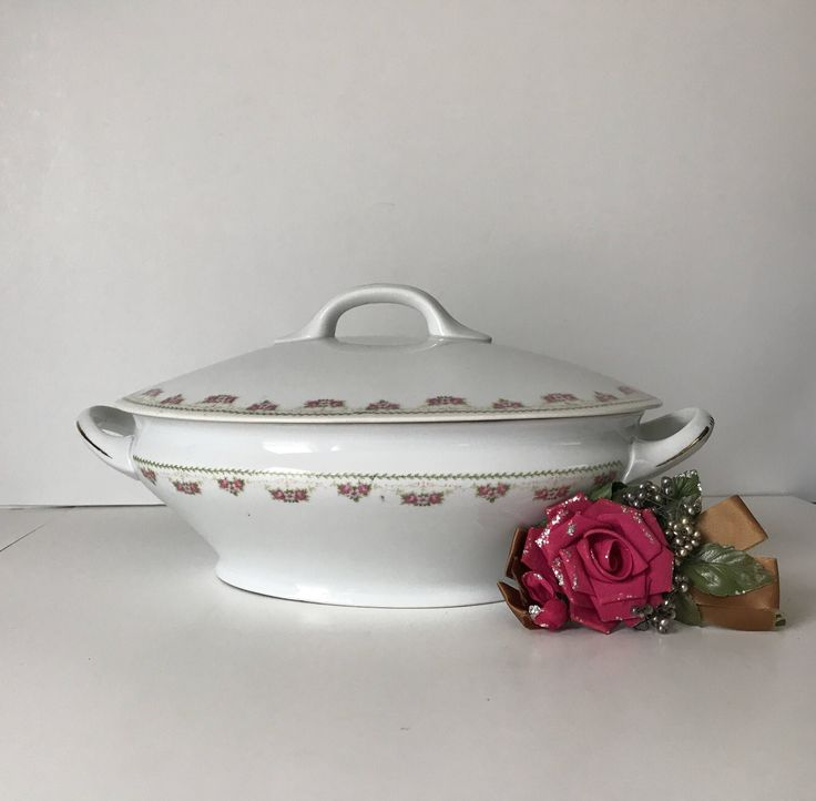 Excited to share the latest addition to my #etsy shop: Antique Vintage White Porcelain China Soup Tureen with Lid * White with Pink Flowers * Imperial China  * Crown Austria * Serving Bowl #housewares #white #housewarming #pink #ceramic #mothersday #souptureen #vintagesouptureen #whiteandpink