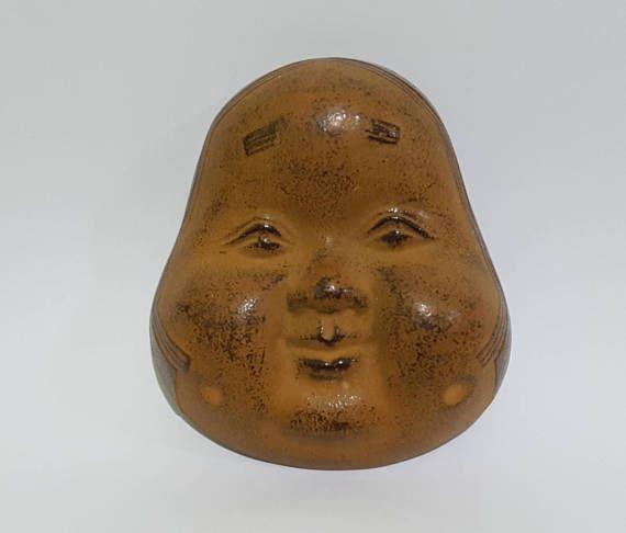 Vintage Cast Iron Otafuku Japanese Noh Play Mask, CecysAsianShop
