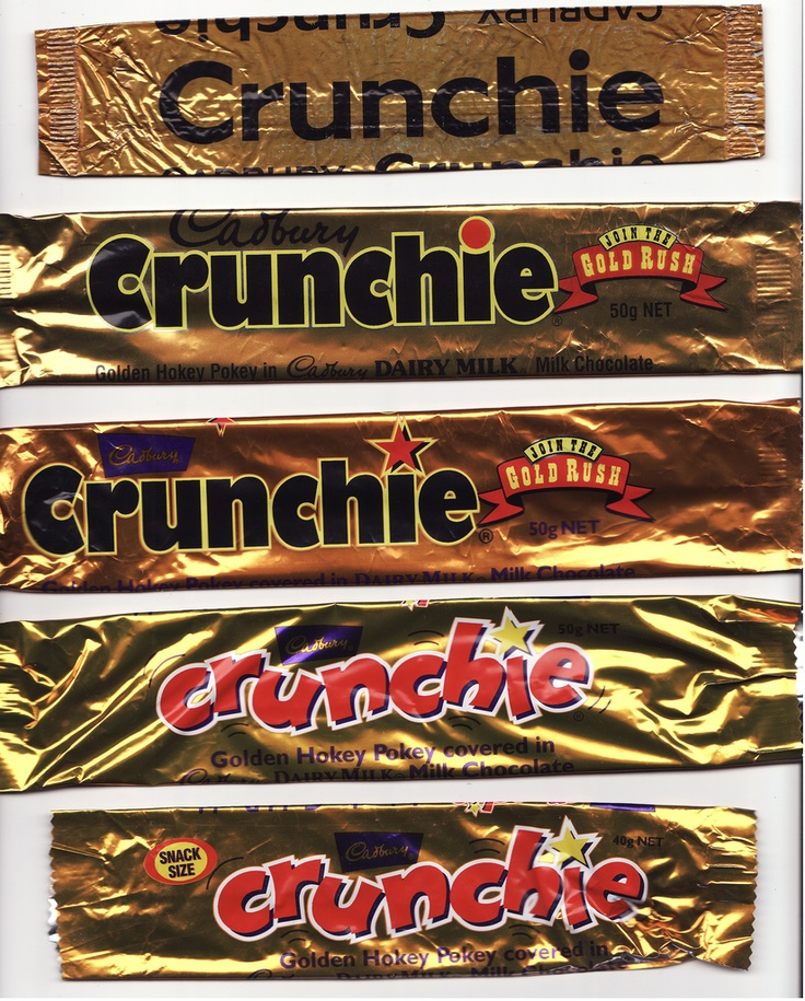 Cadbury Crunchie Chocolate Wrappers - Selection A - New Zealand    Early 1980s? , Mid 1990s x 2, Late 1990s - Early 2000s x 2