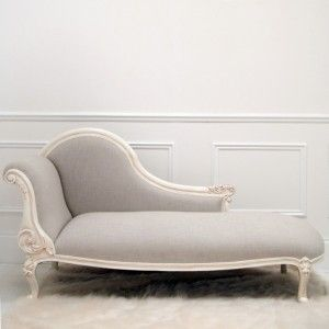 Furniture. Contemporary Chaise Lounge for relax. Cream Wooden Carved Chaise Lounge Design Come With Brown Fabric Cushion Seating Together Four Wood Legs In Carving As Well As Cream Furry Area Rug