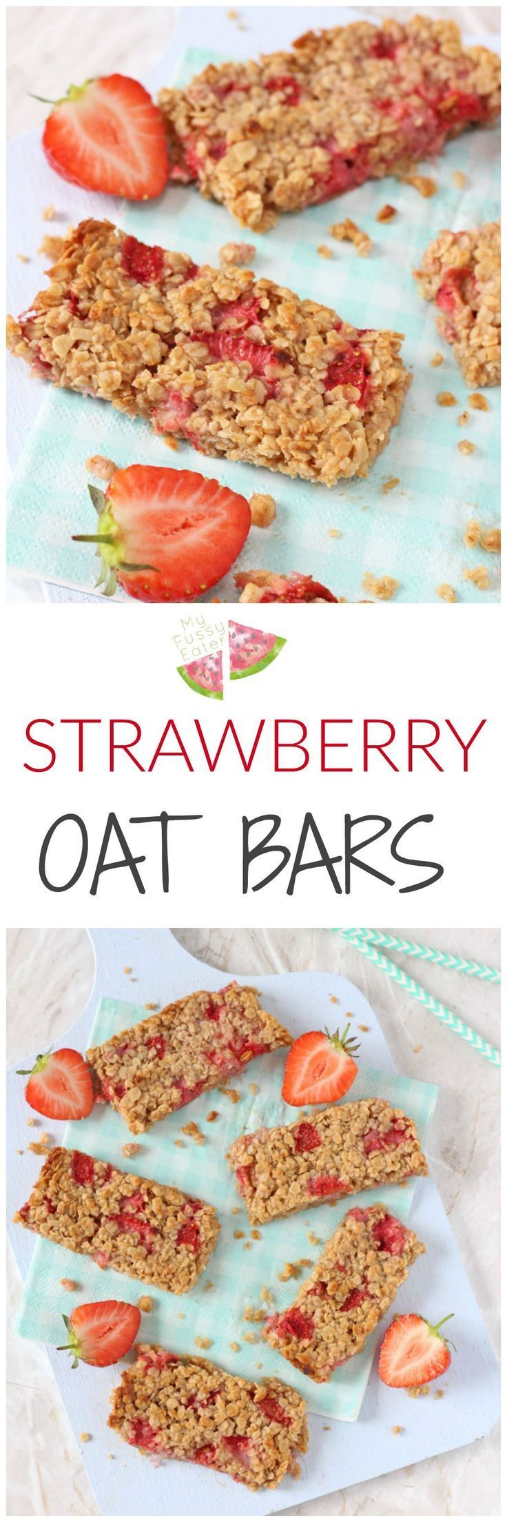 A delicious soft oat bar recipe packed full with sweet strawberries. A tasty and healthy snack for toddlers and older kids! | Posted By: http://DebbieNet.com |