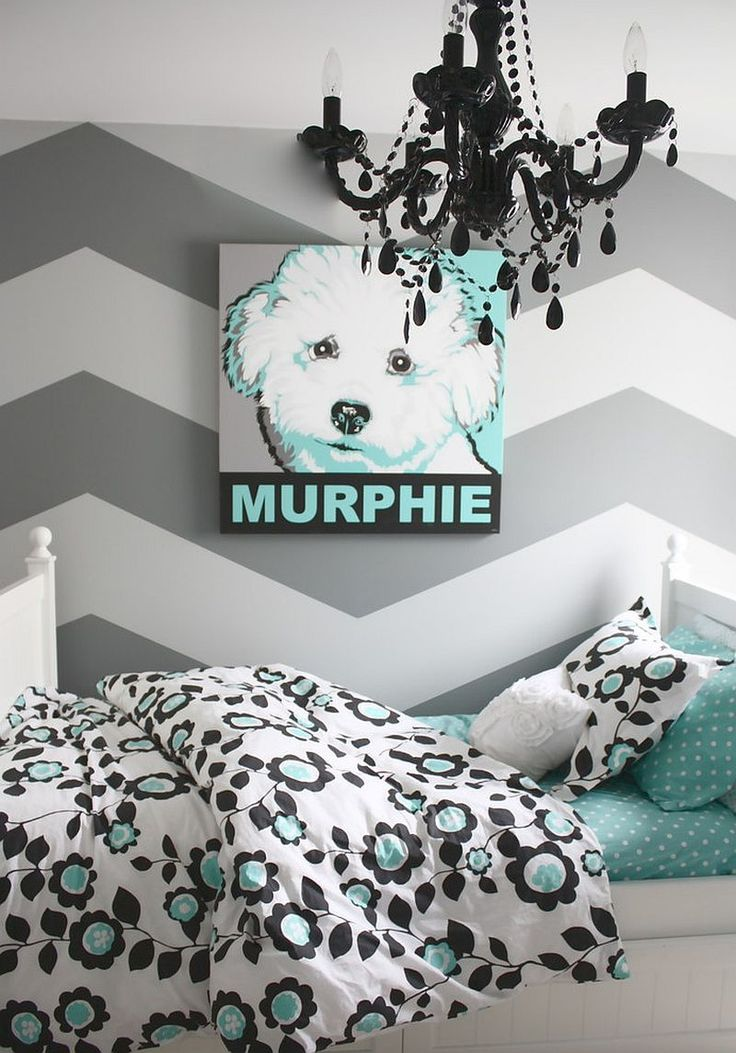 Refined gray and turquoise teen bedroom
