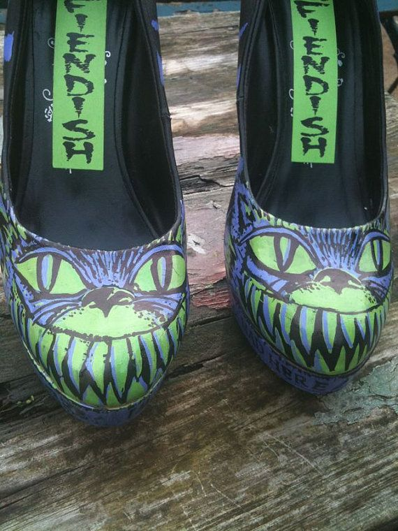 Psycho Cheshire Cat Shoes US 95 /UK 7 by MissFiendishApparel, £65.00