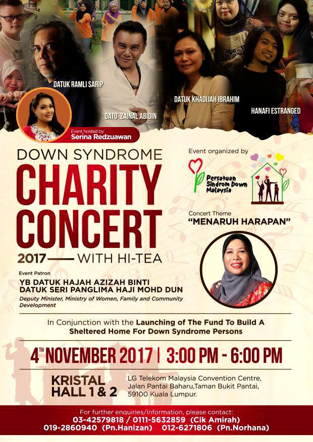Down Syndrome CHARITY CONCERT 2017 with Hi-Tea – 4 November 2017 – Down Syndrome Association of Malaysia | Persatuan Sindrom Down Malaysia