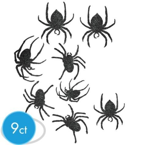 glitter black spider cutouts party cityts an arachnid attack decorate for halloween with glittery - Halloween Spiders