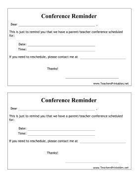 Remind parents of teacher-parent conferences by sending these printable reminders home with your students. Free to download and print