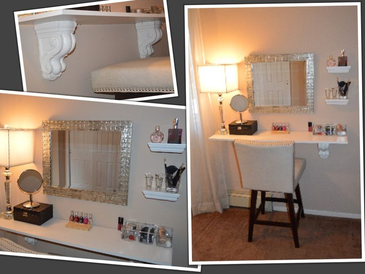 DIY Makeup Vanity.  Find some decorative shelf mounting, a mirror, some glassware for your favorites. The stool is a comfy swivel one I picked up @ home goods.