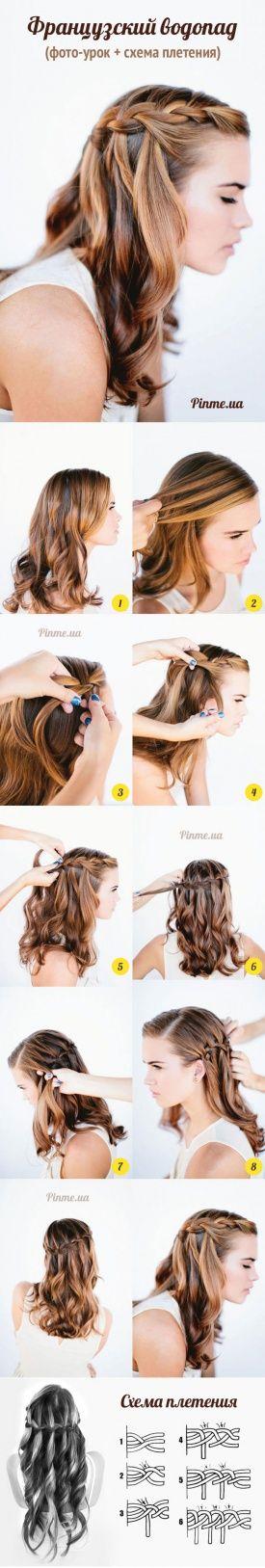 Плетение косы «Французский водопад» → Фото-видео-урок + схема плетения