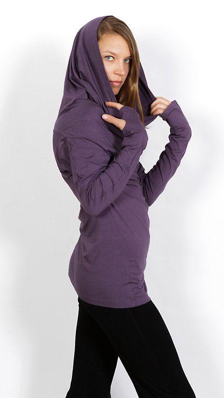 Star Cowl Neck Hoodie Shirt with Thumbholes in Purple Amethyst for Womens Fall Winter Festival Fashion by Paramita Designs Yoga Wear