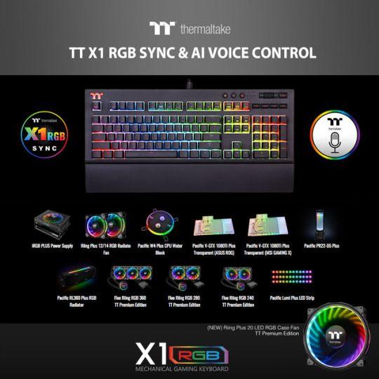 The TT Premium X1 RGB gaming keyboard features TT X1 RGB Sync