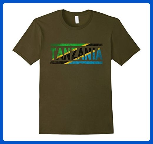 Mens Tanzania Retro Flag T-Shirt Tanzanian Distressed Graphic Large Olive - Retro shirts (*Amazon Partner-Link)