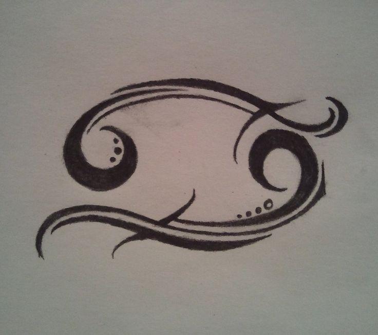 Cancer Zodiac Tribal Tattoos | Amazing Black Ink Cancer Zodiac Tattoo Design