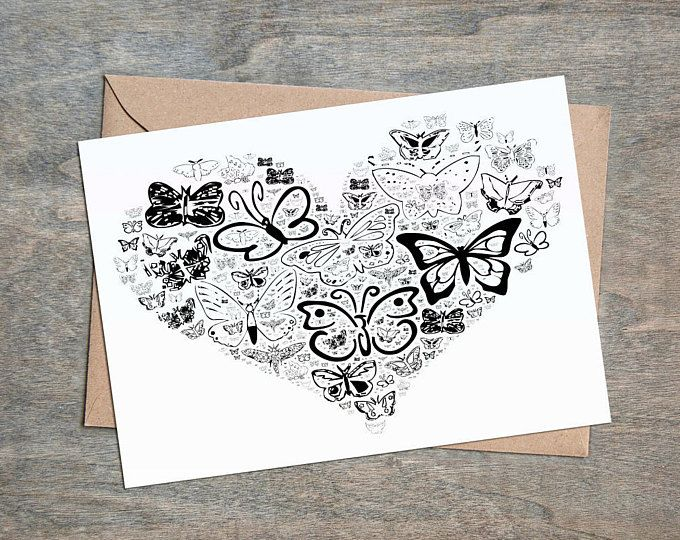 Butterfly Card, Black Heart Card, Blank All Occasion Card, Birthday Card, Blank Inside, Mothers Day Card,  Black Heart, Black Butterfly,