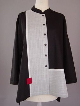 Long Jacket with collar band, abstract shapes and Red Accent