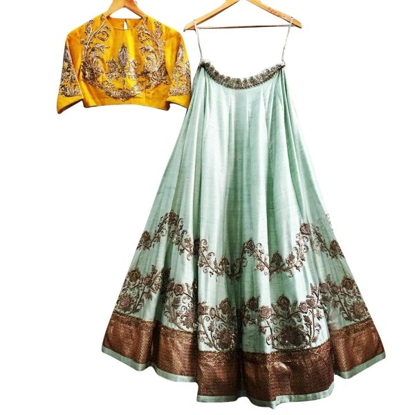 Buy Turquoise Color Tapeta Silk With Embroidery Work Semi-Stitched Lehenga Choli Online at cheap prices from Shopkio.com: India`s best online shoping site