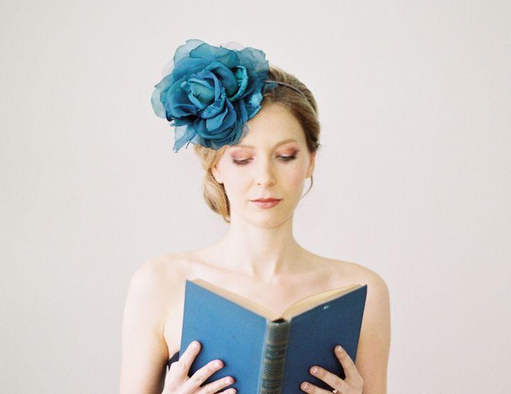 Christie Rose (petrol), £115.00 #wedding #bridal #accessories #vintage #bride #headwear #fascinator www.hopeandgrace....