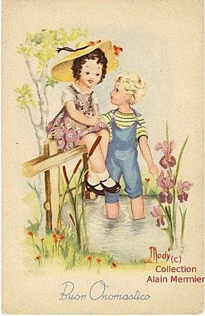 Iris - 2547 - Carte postale semi-moderne. MODY. Buon onomastico. - Le blog de albert_ville