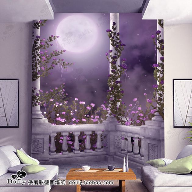 Purple Dream Garden Entrance Background Wall Mural Wallpaper Tv Background  Wall   Bh272(China ( Part 84