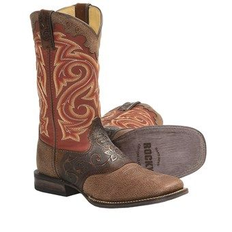 "Rocky Handsewn Leather Western Boots - 11"" (For Women) in Dark Cognac/Red"