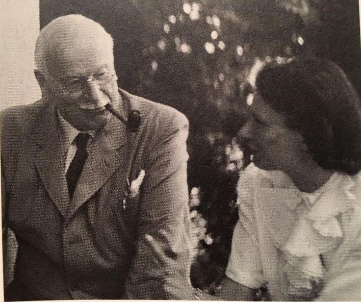 Carl Jung With Aniela Jaffé, co author of MDR, 1948 Casa Eranos, Ascona.